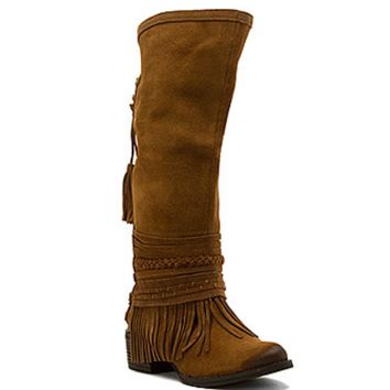 Naughty Monkey Zarape Tan Tall Fringe Boots