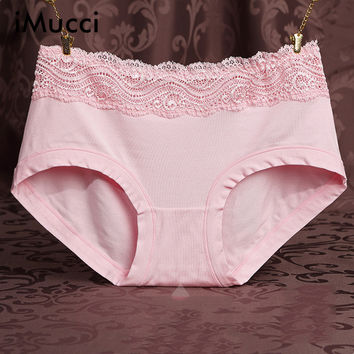 iMucci Seamless Women's Sexy Lace Panties Women Modal Panty High Waist Breathable Trigonometric Panties