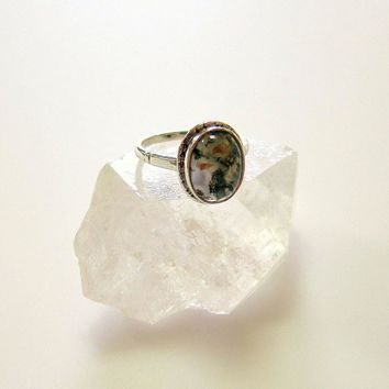 Arts & Crafts Scottish Moss Agate Sterling Silver Ring
