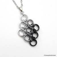 Black ombre chainmaille pendant, Japanese 12 in 2 diamond