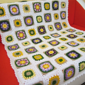 ON SALE - 10% OFF Granny Square Crochet Blanket...Baby Crib Blanket...Baby Patchwork Lap Afghan...