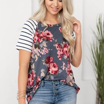 Cleivy Floral Striped Top