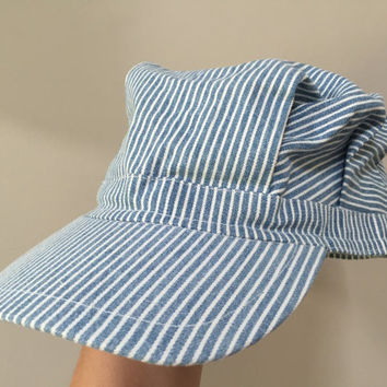 Vintage Engineer Hat, Blue Pinstripe Cap, Pleated Engineers Cap, Blue White Pinstripe Hat Jacobson Vintage Hat 59cm Hat vintage snapback Hat