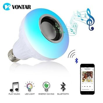 Wireless Bluetooth Speaker+12W RGB Bulb LED Lamp 110V Led Light Music Player with Remote Control