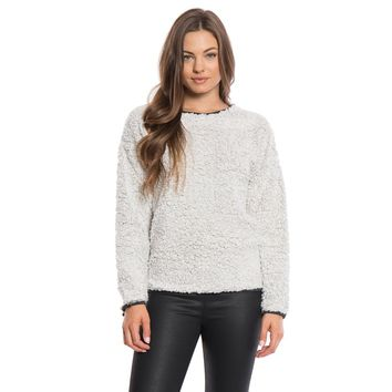 Solid Frosty Tipped Drop Shoulder Crew Sweater in Putty by True Grit (Dylan)