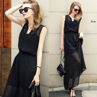 Black Sleeveless Elastic High-Waisted Maxi Dress