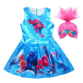 Cartoon Trolls Dress for Girls Summer Children Gown Dress with wig hair  Princess Wedding Party  Kids costume