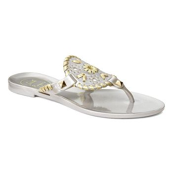 Junior's Miss Georgica Jelly Sandal in Silver/Gold by Jack Rogers