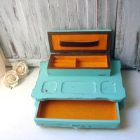 Aqua Mint Vintage Dresser Valet, Mid Century Distressed Wooden Jewelry Valet,  Jewelry Box, Dresser Organizer, Men's Jewelry Box, Gift Ideas