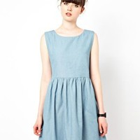 The WhitePepper Sleeveless Smock Dress in Denim at asos.com