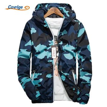 Covrlge Men Jacket Fashion Spring Men Brand Camouflage Jackets Casual Mens Coat Men's Hooded Luminous Zipper Coats MWJ011