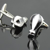 Hot Air Balloon Black White Travel Cufflinks