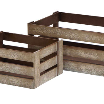 Wood Crate Glazed With Brown Color - Set Of 2