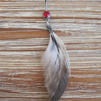Belly Button Ring - Body Jewelry Feather with Red Gem Stone Belly Button Ring