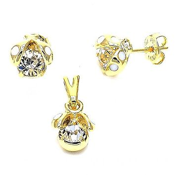 Gold Layered 10.09.0033 Earring and Pendant Children Set, Ladybug Design, with White Cubic Zirconia, Polished Finish, Gold Tone