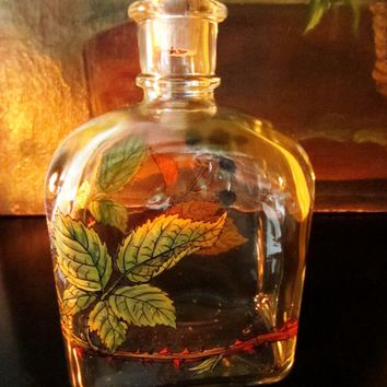 Glass Decanter Holmegaard of Copenhagen Hand Decorated Autumn Leaves