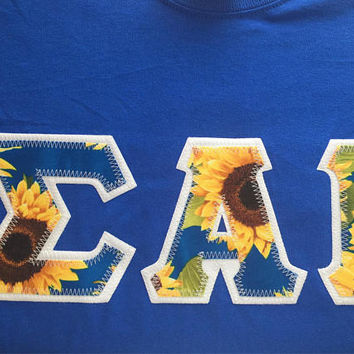 Sunflower Royal Blue Treasures Greek Lettered Shirt Sorority Fraternity