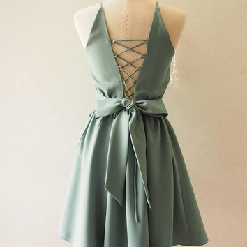 Cross Rope Sage Green Party Dress Vintage Bridesmaid Dress 1950 Style Dress 50 shades dress Sage Green La La Land Dress Cocktail Prom Dress