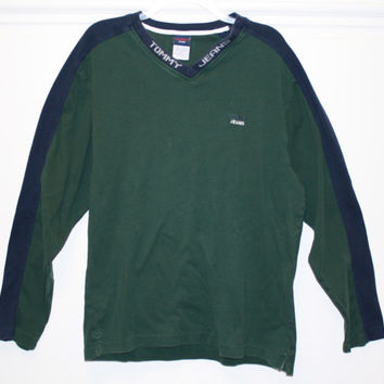 Vintage Tommy Hilifiger Tommy Jeans  V-Neck Long Sleeve Green XL