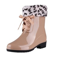 2018 New Lace-Up Rain Boots Winter Werm Women Fashion Faux Fur Ankle Boots Casual