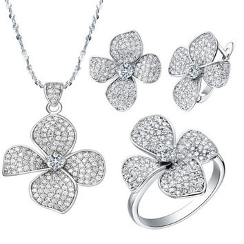 2016 New Silver Plated Jewelry Wedding Jewelry Set Necklaces Flower Pendants Earrings Rings White Clear Zircon