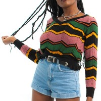 Vintage 90's Retro Stripe Sweater - One Size Fits Many