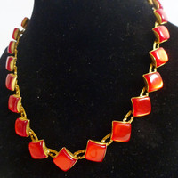 Red Thermoset Plastic Choker. 60's red necklace
