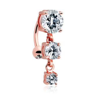 Rose Gold Brilliant Cascading Reverse Drop Top Belly Button Ring 14ga Navel Ring Body Jewelry Dangling