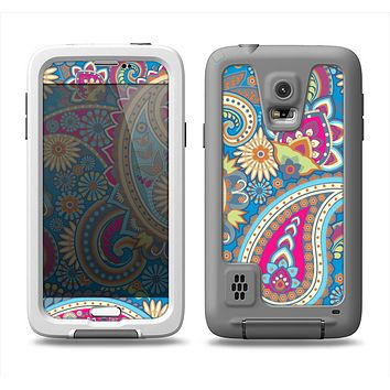 The Blue & Pink Layered Paisley Pattern V3 Samsung Galaxy S5 LifeProof Fre Case Skin Set