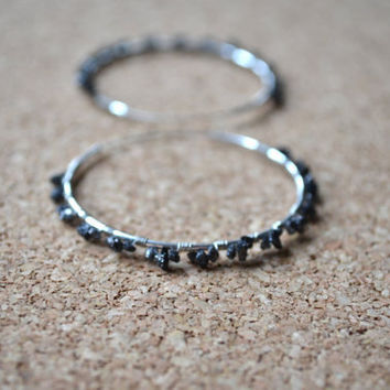 Rough Diamond Earrings Black Natural Uncut Conflict by gewgaws