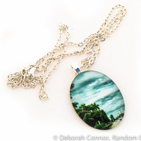 Manicured Road - Oval Photo Pendant Necklace