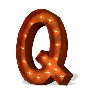 "12"" Letter Q Lighted Vintage Marquee Letters (Modern Font/Rustic)"