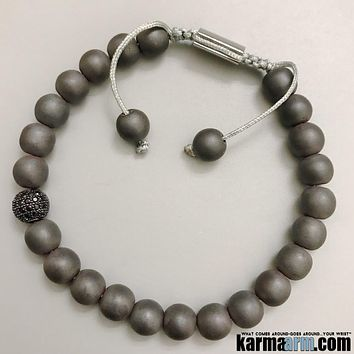 IMPROVING RELATIONSHIPS | Black Matte Hematite | Pave Yoga Chakra Bracelet