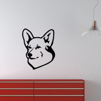 Vinyl Decal Pembroke Welsh Corgi Cute Dog Animal Pet Shop Housewares Home Wall Art Decor Stylish Sticker Unique Design for Any Room V614