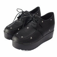 Retro Black Cross Lace Up Flat Platform Shoes