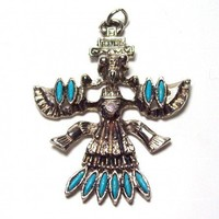 Vintage Zuni Knifewing Pendant with Turquoise