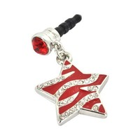 For Apple iPhone 4S 4 Galaxy S Cell Phones & MP3s Red Heart Silver Gems Universal 3.5mm Headphone P