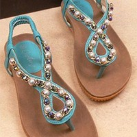 Leisure Beaded Rhinestone Thong Sandal