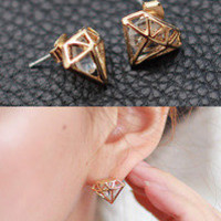 Accessories :: Earrings :: cubic stud graphic diamond cage earring - Korean Fashion @ 스타일지