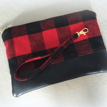 Red and Black Buffalo Plaid Clutch with Detachable Wristlet Strap