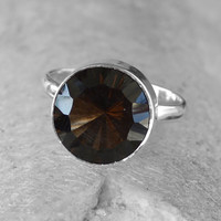Classic Design Ring Amazing Smoky Topaz Gemstone in Silver,Jewelry, Gift, Holiday,Handmade jewelry,Silver Ring,Free Shipping