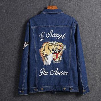 VONE055 GUCCI Embroidery Tiger Fashion Long Sleeve Denim Cardigan Jacket Coat