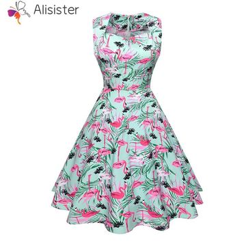 Flamingo Floral Print Party Casual Dress