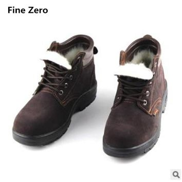 Fine Zero mens Super warm plush Anti-smash Anti-Puncture steel toe caps work safety shoes male tooling ankle winter snow boots