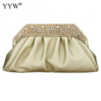 YYW Fashion Pu Leather Shoulder Clutch Bag Western Rhinestone Solid Evening Party Bags For Women Handbags