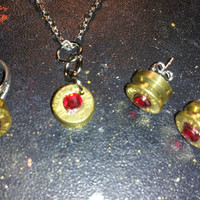 Yellow necklace, earrings, & ring set handcrafted handmade birthstone ammo primer cap jewelry with silver chain ****Free Shipping****