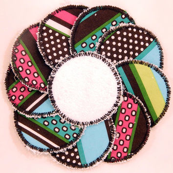 "Set of 10 Reusable 3"" Facial Rounds, Cotton Pads, Cotton Rounds Reusable Makeup Pad, Cosmetic Round, Reusable Facial Pad, Face Scrubbie"