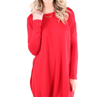 PIKO 1988 Long Sleeve Tunic Dress - American Red