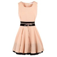 FINEJO Women Splicing Decoration Waist Short Design One-Piece Dress