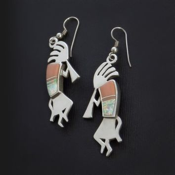 SIGNED Vintage Sterling Native American Indian EARRINGS Long Coral Opal Kokopelli Music Spirits, Sunwest Silver INLAY Mosaic Jewelry Gift